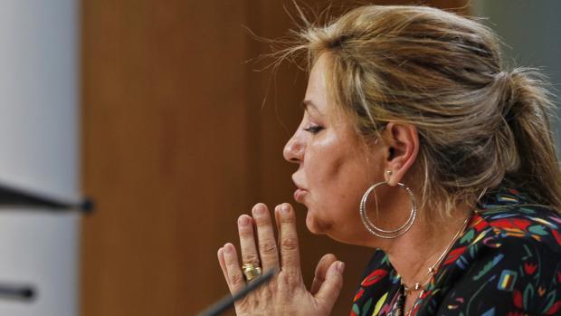 Rosa Valdeón, durante su comparecencia, este sábado, ante los medios
