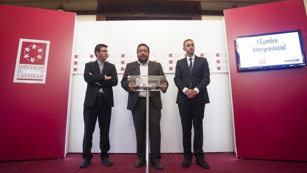Los tres presidentes de las diputaciones valencianas, este lunes en Castellón