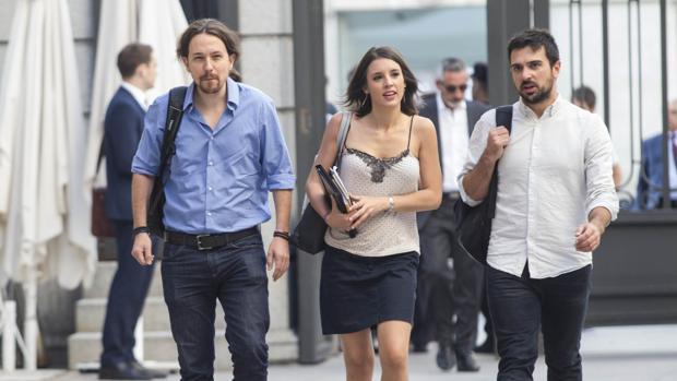 Pablo Iglesas, Irene Montero y Ramón Espinar