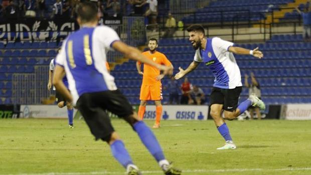 Gaspar celebra su tanto marcado en el partido del domingo ante el Llagostera