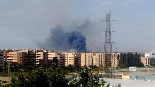 Imagen del incendio de en unos pastos de Leganés