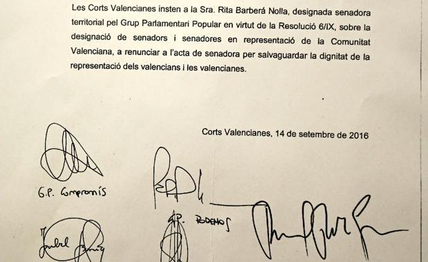 Imagen del documento firmado por todos los grupos, incluido el PP