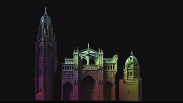 Proyección sobre la fachada de la catedral
