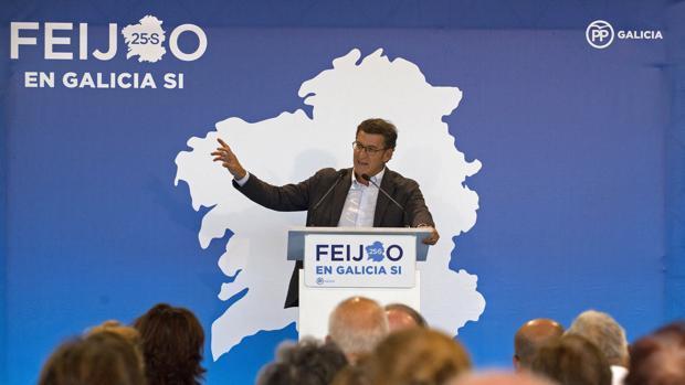 Alberto Núñez Feijóo, en un acto de campaña
