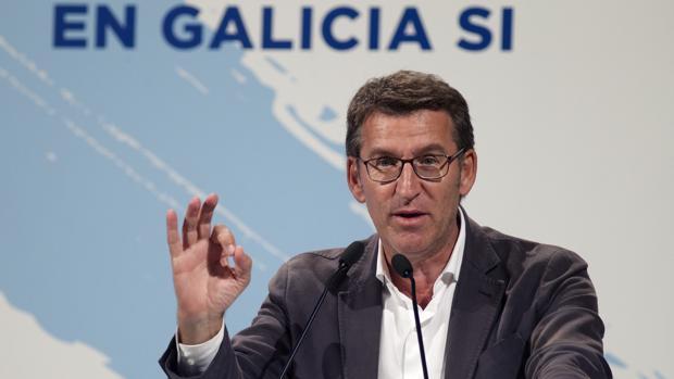 El candidato del PP a la Xunta, Alberto Núñez Feijoo, durante un acto electoral