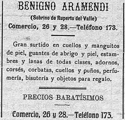 Reclamo publicitario del comercio de Benigno Aramendi en la prensa de la época