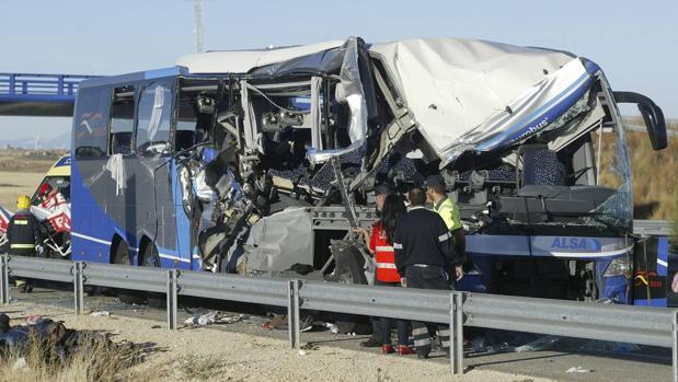 Autobús siniestrado en el accidente de este pasado lunes en Soria