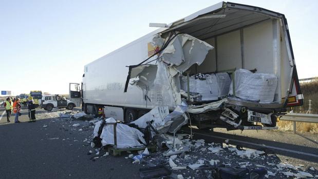 Camión implicado en el accidente