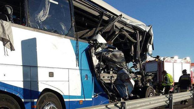 Estado del autobús tras el accidente