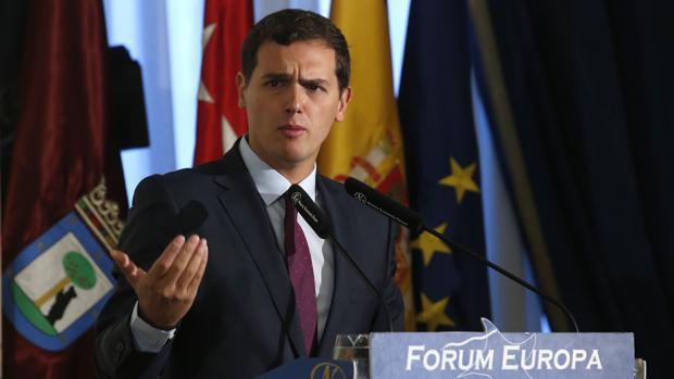 Albert Rivera, durante su participación este en un desayuno informativo organizado por el Fórum Europa