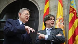 Puig y Puigdemont, frente común contra el PP: «No se puede gobernar de espaldas al Mediterráneo»