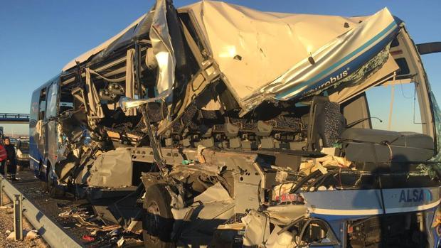 Autobús siniestrado este pasado lunes en Soria