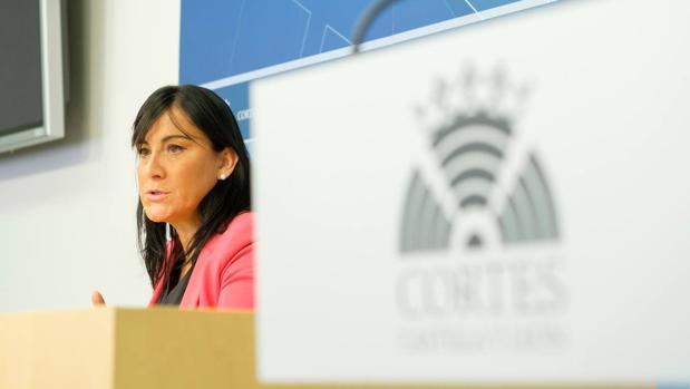 La secretaria de Organización del PSCL, durante la rueda de prensa de este pasado lunes
