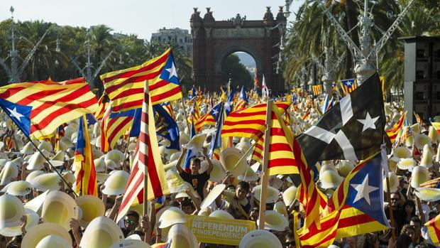 Una vista de la manifestación de la Diada en Barcelona