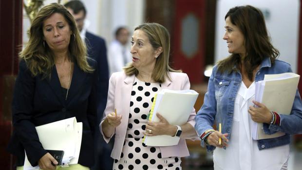 Ana Pastor, junto Alicia Sánchez Camacho (izquierda) y Rosa María Romero (derecha) en el Congreso