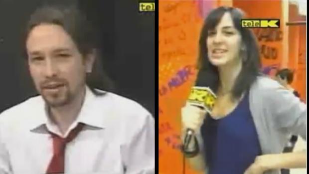 Pablo Iglesias y Rita Maestre, en el programa de «La Tuerka»