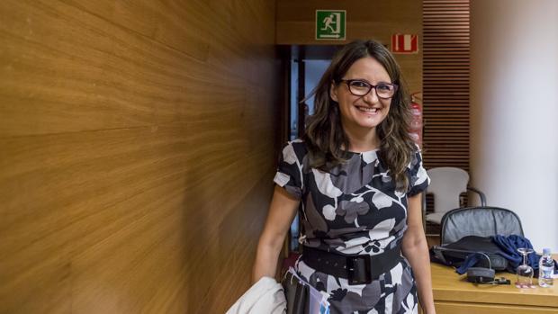 Mónica Oltra, durante la comisión de este martes