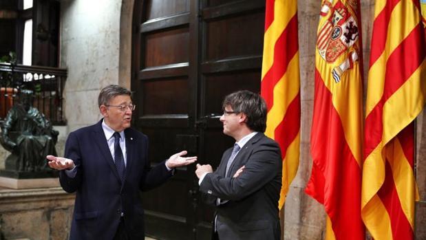 Puig y Puigdemont, durante su encuentro este lunes