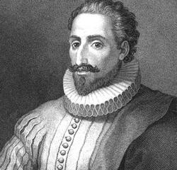 Cervantes según un grabado de Fernando Selma (s. XVIII)