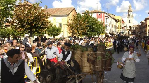 Un carro engalanado desfila por Toro durante la Fiesta de la Vendimia