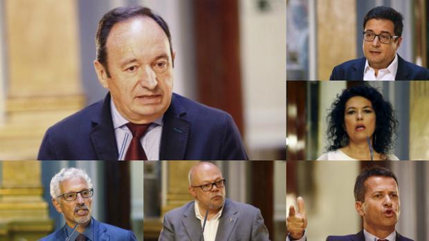 Pedro Sanz (PP), arriba a la izquierda; debajo, Santiago Vidal (izq.) y Francisco Javier A legre (dcha.). De arriba abajo, Óscar López, Maribel Mora y Jokin Bildarratz.