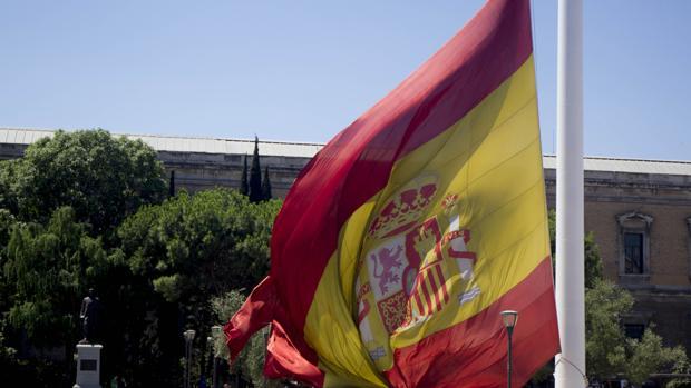 La bandera de España situada en la Plaza de Colón de Madrid