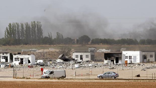Estado en que quedaron hace un año las instalaciones de Pirotecnia Zaragoza tras la explosión