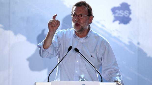 Rajoy, el miércoles durante un mitin en San Cibraio, en la provincia de Lugo