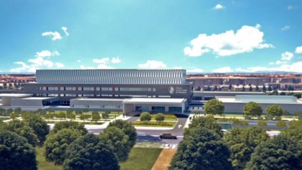 Fachada de la futura Clínica Universidad de Navarra de Madrid, junto a la A-2
