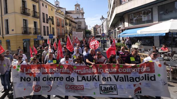 Manifestación que congregó a medio millar de personas por el centro de Valladolid
