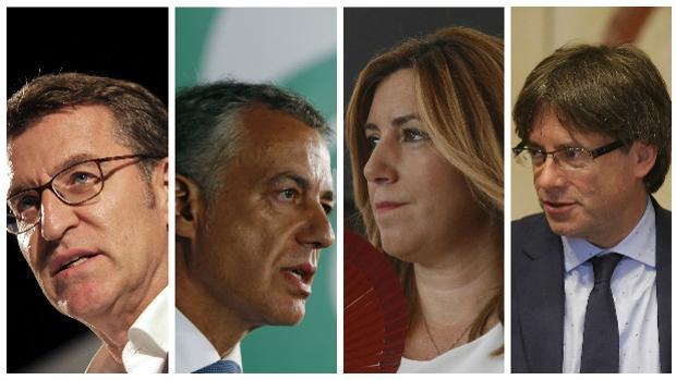 La presidentes autonómicos de las cuatro comunidades históricas de España
