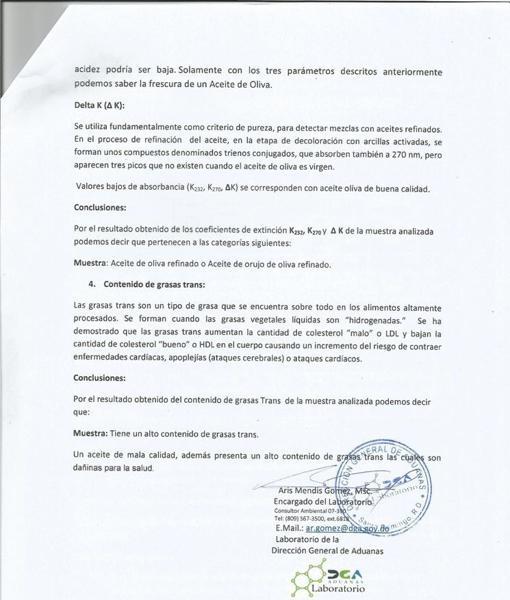 Iñaki Bilbao denunció con este análisis oficial que el aceite que vendía «el ioni de Almensilla» y su socio italliano era tóxico