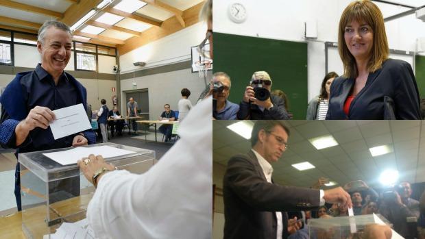 Íñigo Urkullo (i) e Idoia Mendia (d, arriba), candidatos a lendakari del PNV y del PSOE, respectivamente, y Alberto Núñez Feijóo (derecha, abajo), candidato a la presidencia de la Xunta de Galicia