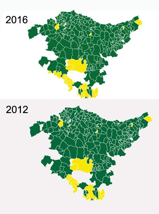 De verde, los municipios donde PNV y Bildu han sumado más del 50%, en amarillo, donde el resto de partidos ha suman mayoría frente a nacionalistas e independentistas. / LUIS CANO