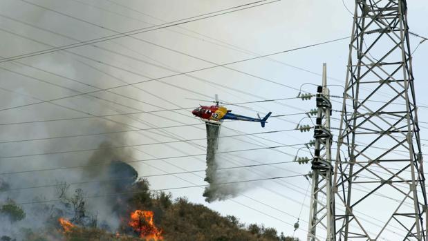 El fuego se ha originado en una zona boscosa del término municipal de Esplugues de Llobregat
