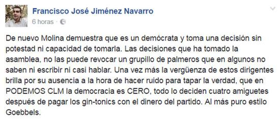 Comentario escrito en Facebook por Francisco José Jiménez