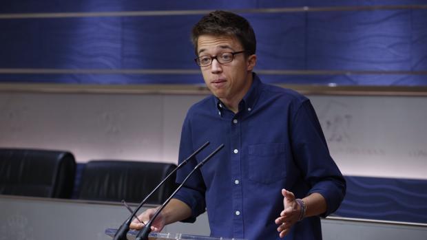 Íñigo Errejón en su rueda de prensa tras la Junta de Portavoces
