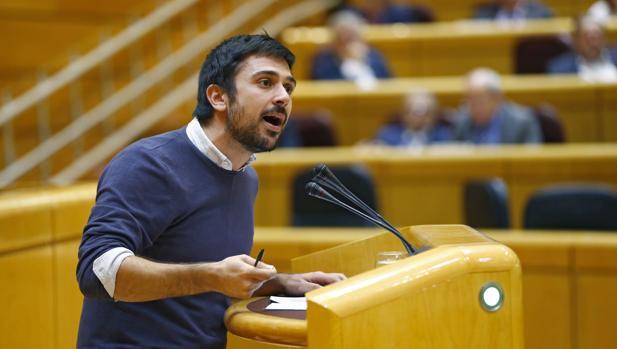 Ramón Espinar, en el primer pleno del Senado de la XII Legislatura