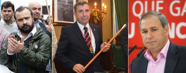 Rafael Cuíña, alcalde de Lalín; Manuel Ruiz, alcalde de Ribeira; y José Tomé, alcalde de Monforte