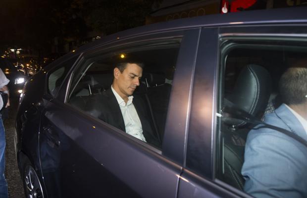 Pedro Sánchez, a la salida de la sede del PSOE en Ferraz este miércoles