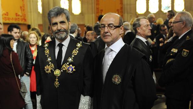 Barrientos (d), junto al presidente del supremo y del CGPJ, Carlos Lesmes