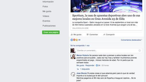 Dos primeros comentarios a la noticia compartida en el periódico local