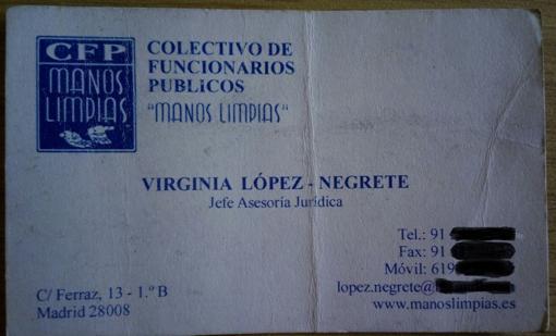 Tarjeta de visista de López Negrete como «Jefe de Asesoría Jurídica» de Manos Limpias