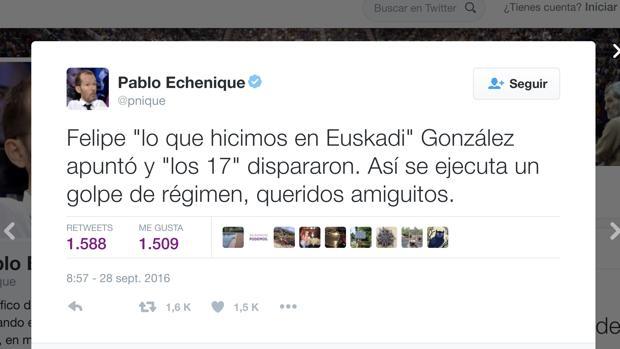 Comentario colgado por el número tres de Podemos en su cuenta de Twitter