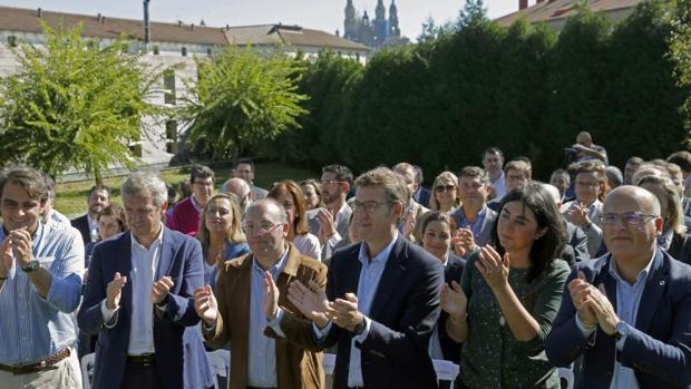 Núñez Feijóo durante la junta directiva del PPdeG celebrada ayer en Compostela