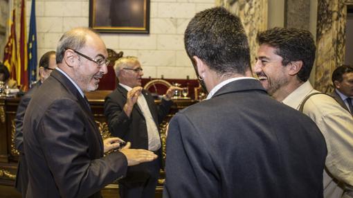 El portavoz del PP, Eusebio Monzó, junto al de València en Comú, Jordi Peris