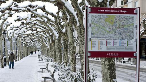 Aunque la obra recuerda el verano del 36´, el Paseo del Espolón de Burgos es otro en invierno