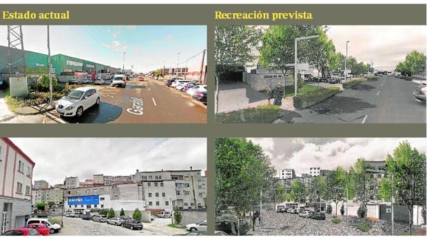 Arriba: El Camino Inglés atraviesa un polígono industrial con muchos obstáculos para entrar en Santiago. Abajo: En el Francés se sopesa construir un paso inferior y cómo mejorar el aspecto estético en algunas calles