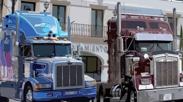 Cartel de la exposición de camiones pesados en San Sebastián de los Reyes