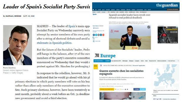 La prensa internacional retrata el «golpe» de los socialistas contra Sánchez